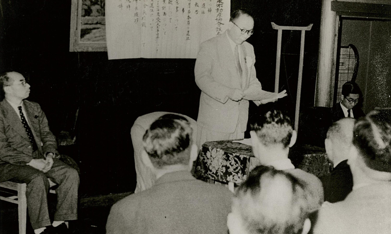 全日本不動産協会設立総会  祝詞を述べる野田卯一建設大臣(1952年6月)